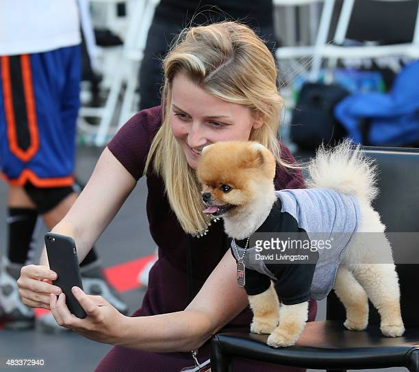 Jiff the Dog poses for a selfie at the 2015 Nike Basketball 3ON3 Tournament presented by NBC4 Southern California at LA LIVE on August 7 2015 in Los...