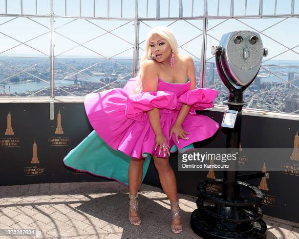 """Jiggly Caliente attends as Empire State Building hosts the cast of """"RuPaul's Drag Race All Stars"""" Season 6 on June 24, 2021 in New York City."""
