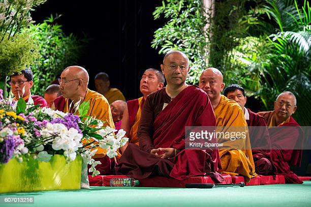 Jigme Khyentse attends the Tibetan Spiritual Leader the 14th Dalai Lama's Buddhist teaching at the Le Zenith on September 17 2016 in Strasbourg...