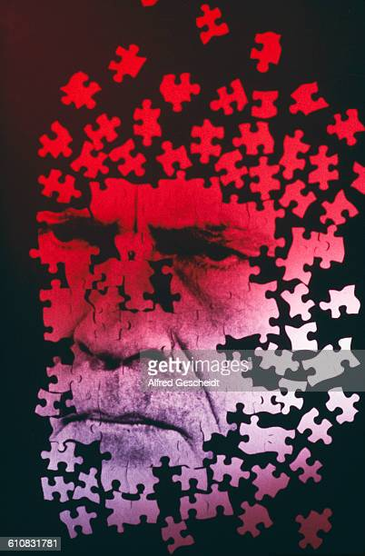 A jigsaw of a frowning man's face circa 1985