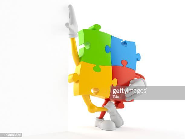 jigsaw puzzle character isolated white background
