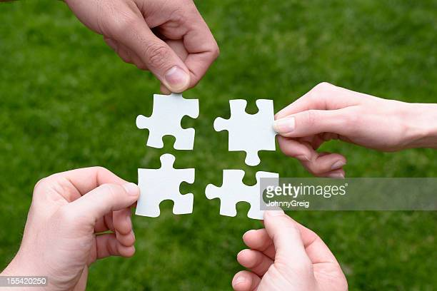 Jigsaw Puzzle Cooperation Concept