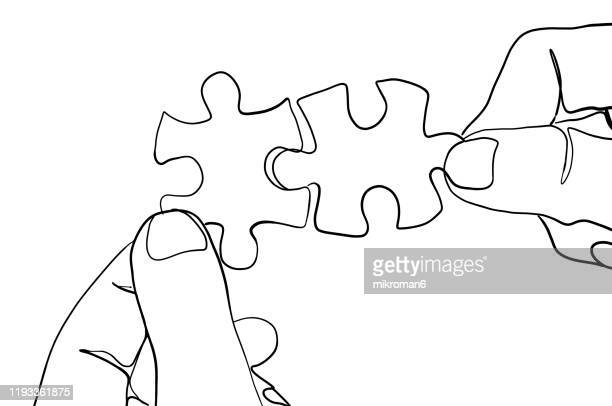 jigsaw puzzle one line drawing - lineart stock-fotos und bilder