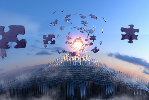 Jigsaw puzzle pieces floating in sky with spheres - gettyimageskorea