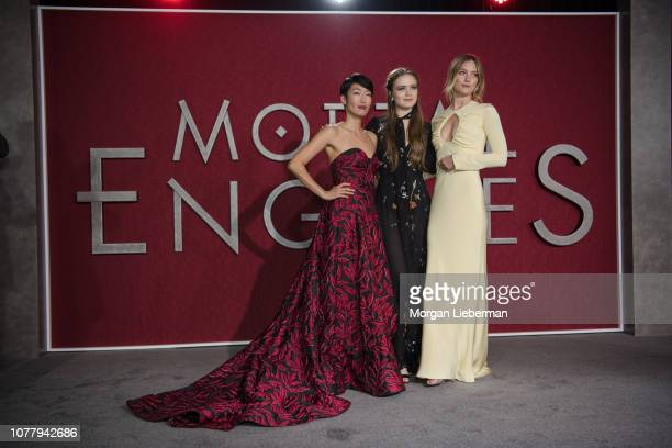 Jihae Hera Hilmar and Leila George arrive at the premiere Of Universal Pictures' Mortal Engines at Regency Village Theatre on December 5 2018 in...