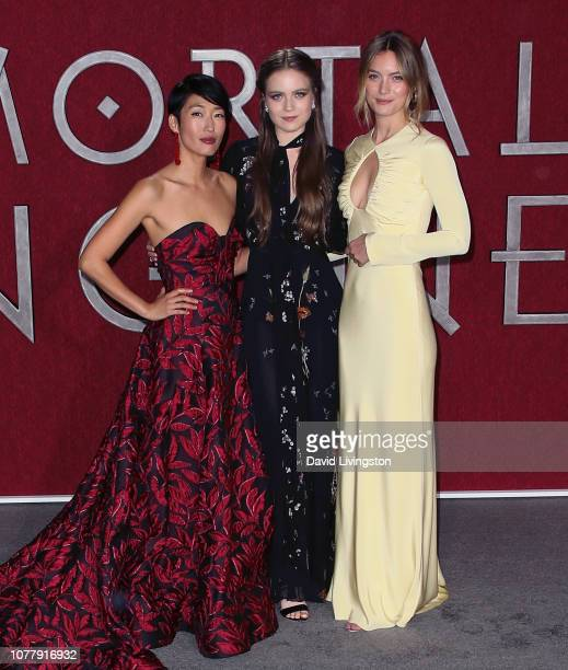 Jihae Hera Hilmar and Leila George attend the premiere of Universal Pictures' Mortal Engines at the Regency Village Theatre on December 05 2018 in...