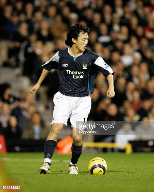 Jihai Sun of Manchester City in action during the Barclays Premiership match between Fulham and Manchester City at Craven Cottage in London on...