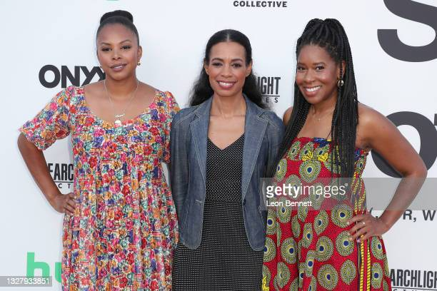 """Jihan Robinson, Jacqueline Glover, and Tara Duncan attends a Cinespia Special Screening Of Fox Searchlight And Hulu's """"Summer Of Soul"""" With Questlove..."""