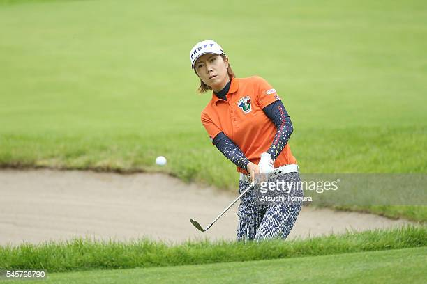 JiHee Lee of South Korea chips onto the 6th green during the final round of the Nipponham Ladies Classics at the Ambix Hakodate Club on July 10 2016...
