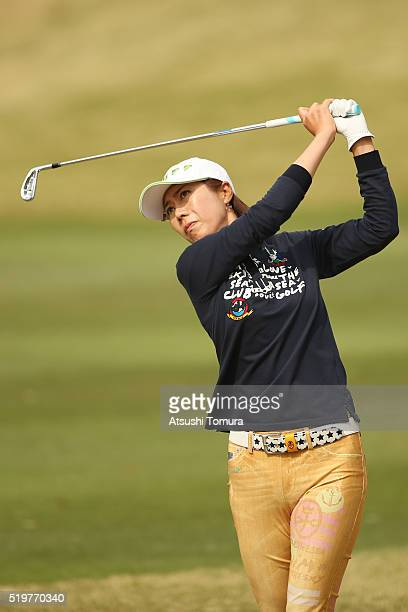 JiHee Lee of South Korea hits her second shot on the 17th hole during the first round of the Studio Alice Open at the Hanayashiki Golf Club Yokawa...