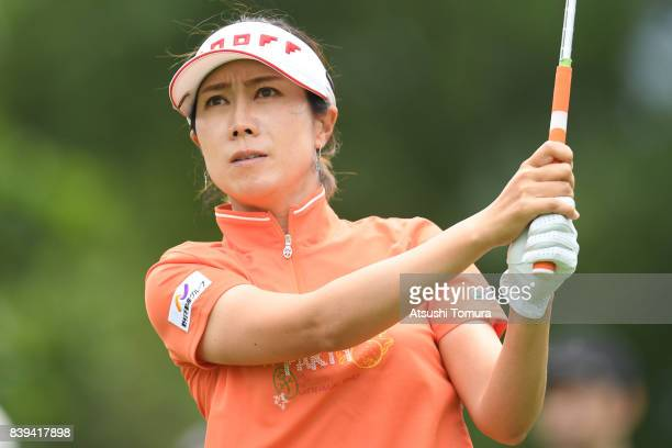 JiHee Lee of South Korea hits her tee shot on the 12th hole during the third round of the Nitori Ladies 2017 at the Otaru Country Club on August 26...