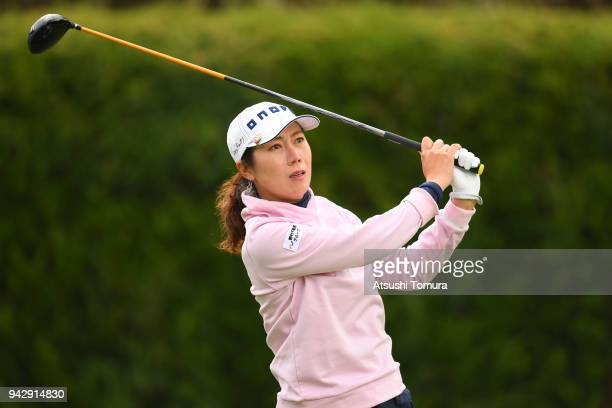 JiHee Lee of South Korea hits her tee shot on the 2nd hole during the second round of the Studio Alice Ladies Open at the Hanayashiki Golf Club...