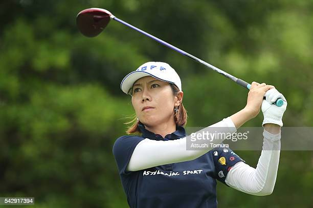 JiHee Lee of South Korea hits her tee shot on the 3rd hole during the third round of the Earth Mondamin Cup at the Camellia Hills Country Club on...