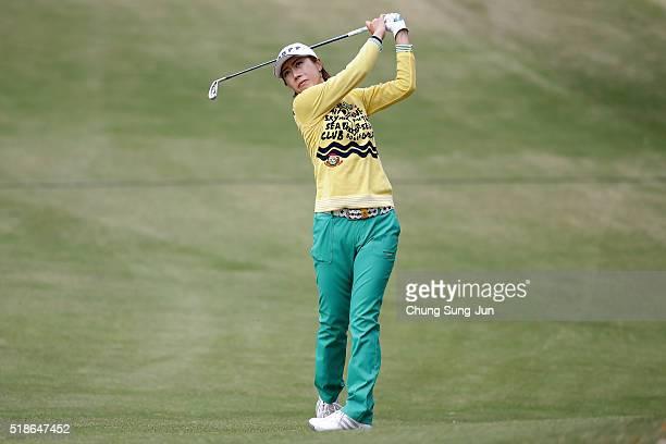 JiHee Lee of South Korea plays a shot on the 16th hole during the third round of the YAMAHA Ladies Open Katsuragi at the Katsuragi Golf Club Yamana...