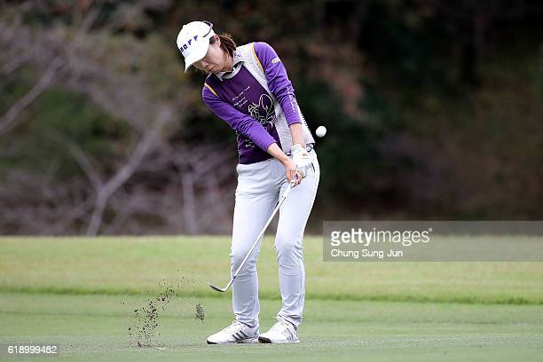 JiHee Lee of South Korea plays a shot on the 18th hole during the second round of the Mitsubishi Electric/Hisako Higuchi Ladies Golf Tournament at...