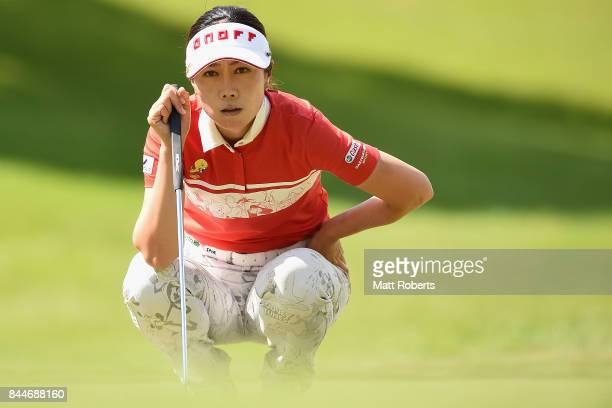 JiHee Lee of South Korea prepares to putt during the third round of the 50th LPGA Championship Konica Minolta Cup 2017 at the Appi Kogen Golf Club on...