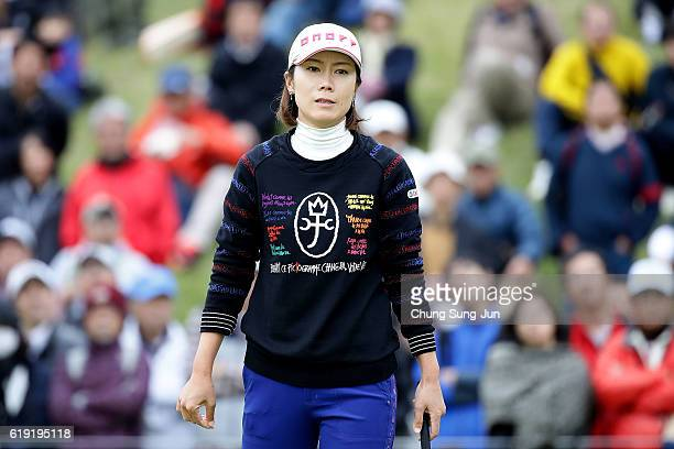 JiHee Lee of South Korea reacts after a putt on the 18th green during the final round of the Mitsubishi Electric/Hisako Higuchi Ladies Golf...