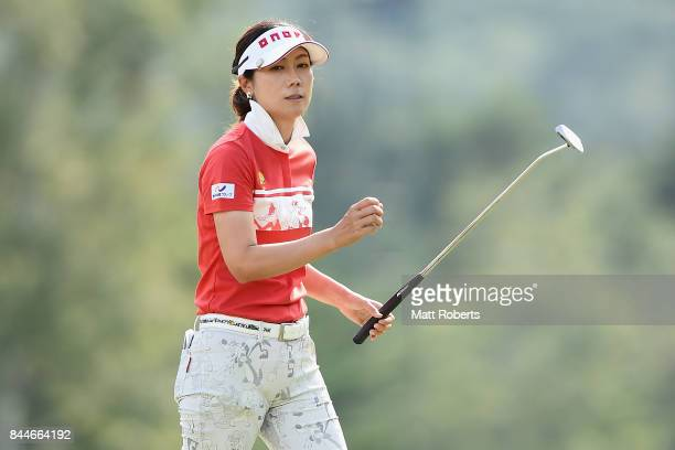 JiHee Lee of South Korea reacts after her putt on the 18th green during the third round of the 50th LPGA Championship Konica Minolta Cup 2017 at the...