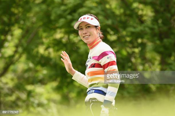 JiHee Lee of South Korea smiles after her tee shot on the 3rd hole during the first round of the Yonex Ladies Golf Tournament 2016 at the Yonex...