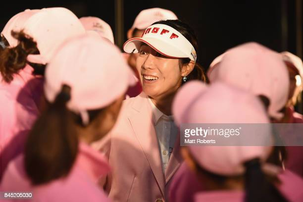 JiHee Lee of South Korea speaks with members of the rookie camp after wiining the final round of the 50th LPGA Championship Konica Minolta Cup 2017...