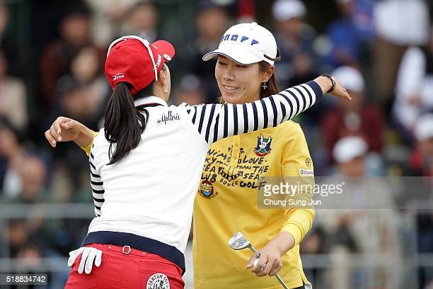 JiHee Lee South Korea hugs with ChaeYoung Yoon after a winning putt on the 18th green during the final round of the YAMAHA Ladies Open Katsuragi at...