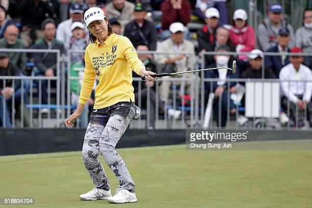 JiHee Lee South Korea reacts after a putt on the 18th green during the final round of the YAMAHA Ladies Open Katsuragi at the Katsuragi Golf Club...