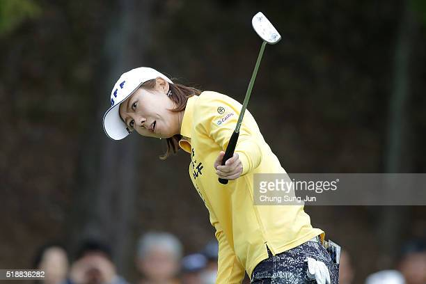 JiHee Lee South Korea reacts after a putt on the 9th green during the final round of the YAMAHA Ladies Open Katsuragi at the Katsuragi Golf Club...