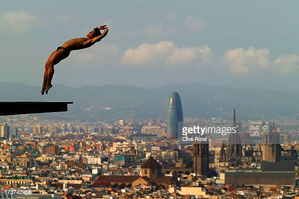 Jiho Park of Korea in action during a diving training session ahead of the FINA World Championships on July 17 2013 in Barcelona Spain