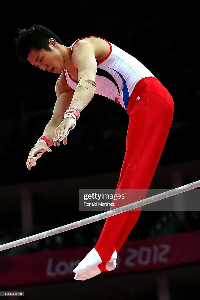 Jihoon Kim of South Korea competes in the Artistic Gymnastics Men's Horizontal Bar final on Day 11 of the London 2012 Olympic Games at North Greenwich Arena on August 7, 2012 in London, England.