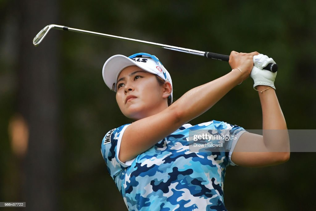 Jihyun Kim of South Korea plays her tee shot on the 13th hole during the third round of the 2018 U.S. Women's Open at Shoal Creek on June 2, 2018 in Shoal Creek, Alabama.