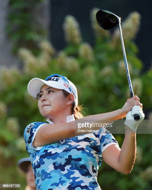 Jihyun Kim of South Korea plays her tee shot on the 14th hole during the third round of the 2018 US Women's Open at Shoal Creek on June 2 2018 in...