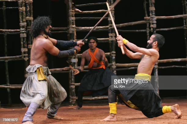 Jijoy Tapan Das and D Padmakumar perform on stage during the photocall for the musical A Midsummer Night's Dream at the Roundhouse on March 13 2007...