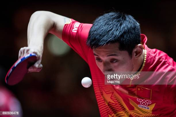 Jike Zhang of China competes during Men Single 1 Round at Table Tennis World Championship at Messe Duesseldorf on May 31 2017 in Dusseldorf Germany