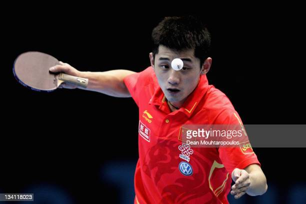 Jike Zhang of China in action against Liqin Wang of China during the Mens Singles Quarter Finals match during day three of the ITTF Pro Tour Table...
