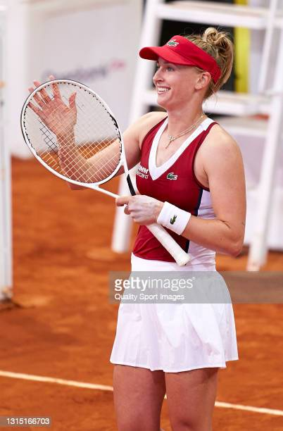 Jil Teichmann of Switzerland acknowledges the crowd after winning match point against Elina Svitolina of Ukraine on day three of the Mutua Madrid...