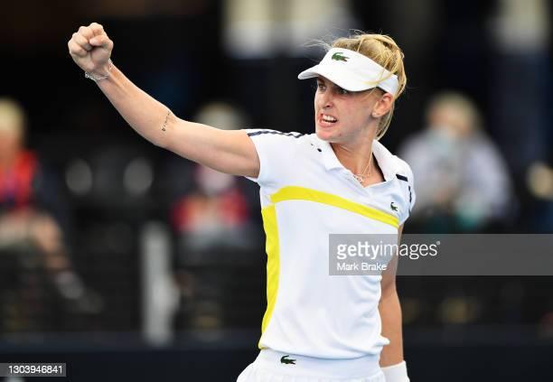 Jil Teichmann of Switzerland celebrates a point against Anastasia Sevastova of Latvia during day four of the Adelaide International WTA 500 at...