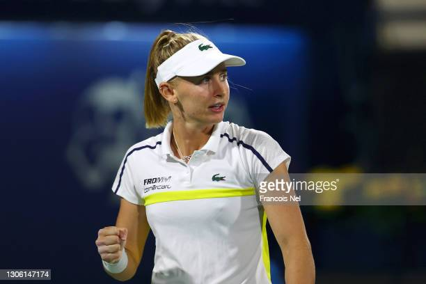 Jil Teichmann of Switzerland celebrates a point during her Round 2 match against Petra Kvitova of Czech Republic during Day Three of the Dubai Duty...