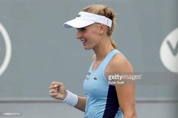 Jil Teichmann of Switzerland celebrates after defeating Catherine Bellis 6-2, 6-4 during Top Seed Open - Day 5 at the Top Seed Tennis Club on August...