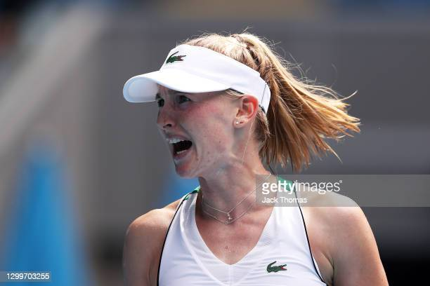 Jil Teichmann of Switzerland celebrates after winning the second set in her Women's Singles Round of 64 match against Cori Gauff of The United States...