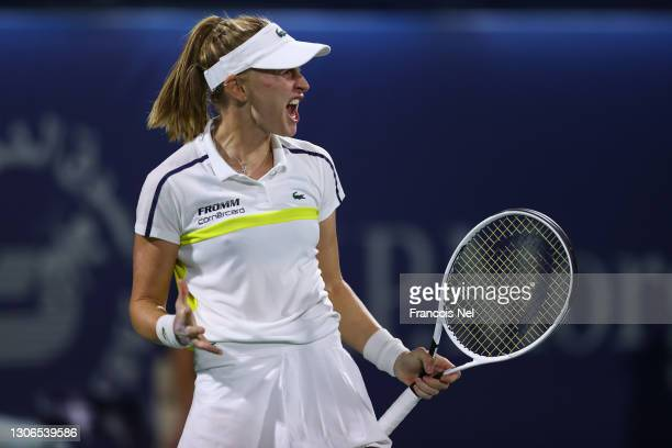 Jil Teichmann of Switzerland celebrates victory in her quarter final match with Cori Gauff of the United States on Day Five of the Dubai Duty Free...