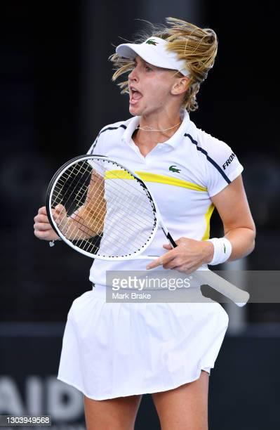 Jil Teichmann of Switzerland celebrates winning a game against Anastasia Sevastova of Latvia during day four of the Adelaide International WTA 500 at...