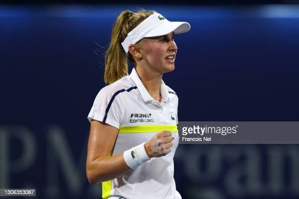 Jil Teichmann of Switzerland celebrates winning her match against Ons Jabeur of Tunisa during Day Four of the Dubai Duty Free Tennis at Dubai Duty...