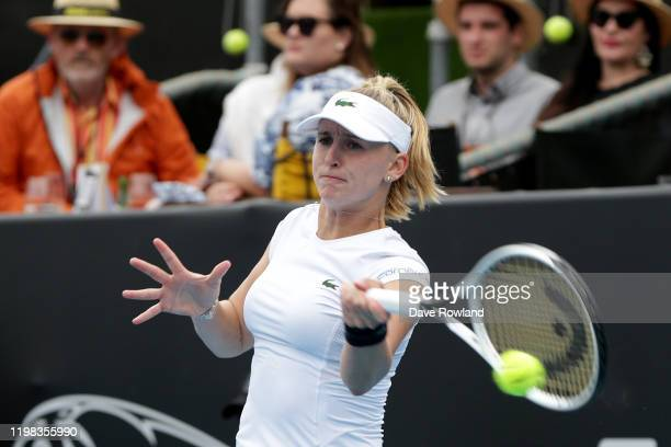 Jil Teichmann of Switzerland during her match against Julia Goerges of Germany during day four of the 2020 Women's ASB Classic at ASB Tennis Centre...