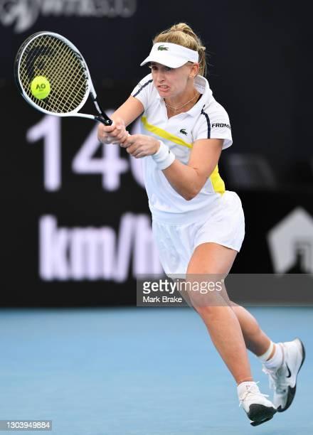 Jil Teichmann of Switzerland hits a backhand against Anastasia Sevastova of Latvia during day four of the Adelaide International WTA 500 at Memorial...
