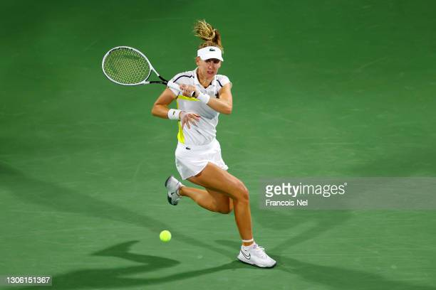 Jil Teichmann of Switzerland in action during her Round 2 match against Petra Kvitova of Czech Republic during Day Three of the Dubai Duty Free...