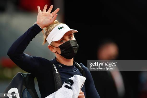Jil Teichmann of Switzerland leaves the court after her round of 32 match against Jil Teichmann of Switzerland on day three of the Mutua Madrid Open...