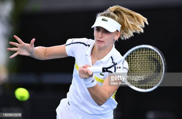 Jil Teichmann of Switzerland plays a forehand against Anastasia Sevastova of Latvia during day four of the Adelaide International WTA 500 at Memorial...