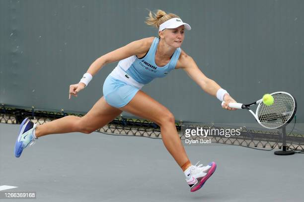 Jil Teichmann of Switzerland plays a forehand during her match against Catherine Bellis during Top Seed Open - Day 5 at the Top Seed Tennis Club on...