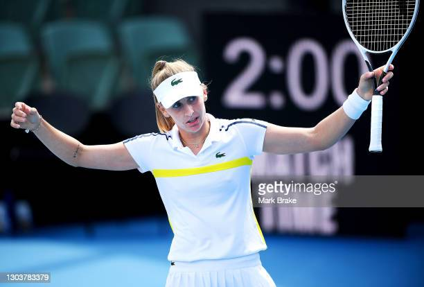 Jil Teichmann of Switzerland reacts after winning her match against Qiang Wang of China on day three of the Adelaide International WTA 500 at...
