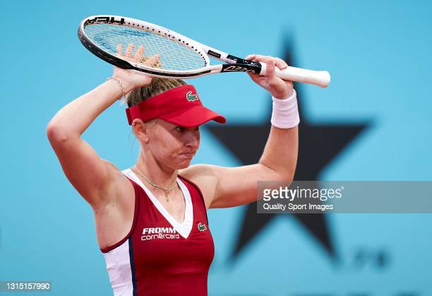 Jil Teichmann of Switzerland reacts during her match against Elina Svitolina of Ukraine on day three of the Mutua Madrid Open tennis tournament at La...